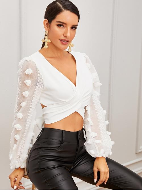Sexy Plain Wrap Top Regular Fit V neck Long Sleeve Pullovers White Crop Length Wrap Cross Tie Back Crop Top