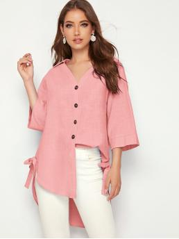 Casual Plain Shirt Regular Fit Collar Three Quarter Length Sleeve Regular Sleeve Placket Pink and Pastel Longline Length Collared Knot Side Curved Hem Shirt