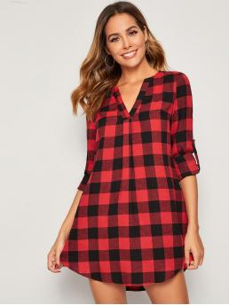 Preppy Shirt Gingham Straight Loose V neck Long Sleeve Roll Up Sleeve Natural Red Short Length Notched Neck Roll Tab Sleeve Buffalo Plaid Dress