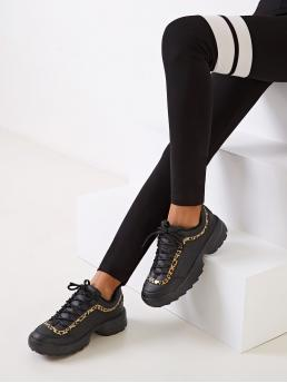 Comfort Round Toe Leopard Flatform Black Lace-up Front Leopard Pattern Chunky Sneakers