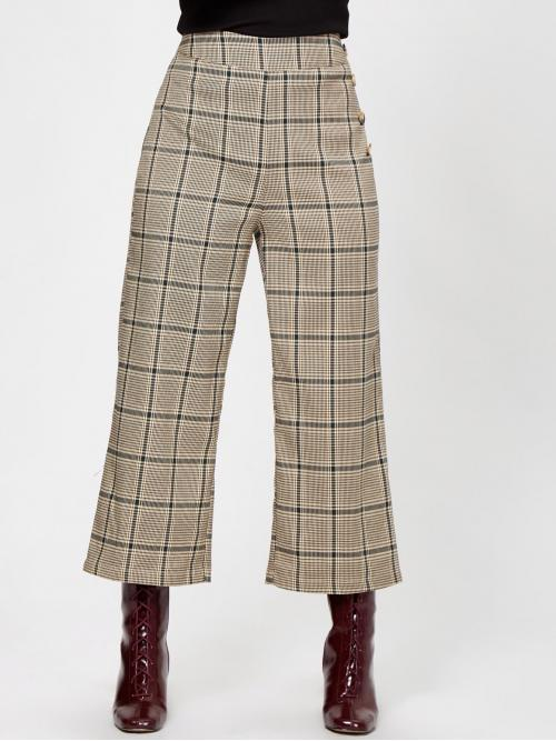 Preppy Plaid Wide Leg Loose Zipper Fly High Waist Khaki Cropped Length Heritage Check Button Culottes