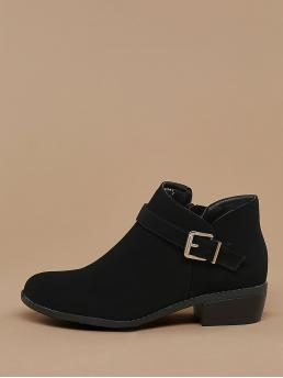 Comfort Other Plain Side zipper Black Low Heel Chunky Almond Toe Side Buckle Stacked Heel Booties