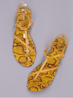 Comfort Toe Post Snakeskin Print Yellow Strappy Snakeskin Sole Flat Gladiator Sandals