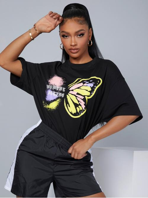 Ladies Half Sleeve Polyester Animal Black Letter and Butterfly Print Top