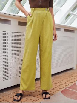 Mustard Yellow High Waist Zipper Wide Leg Wrap Button Waist Palazzo Pants Pretty