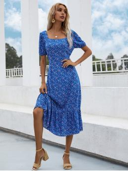 Royal Blue all over Print Zipper Square Neck Allover Floral Print Ruffle Hem Dress on Sale