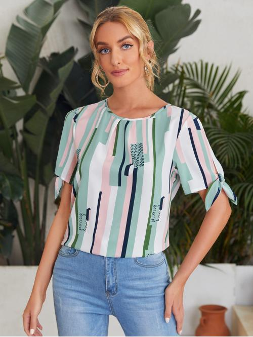 Clearance Short Sleeve Top Split Polyester Knot Cuff Sleeve Top