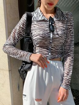Womens Long Sleeve Shirt Button Front Recycle Polyester Dazyd Slim Fit Blouse
