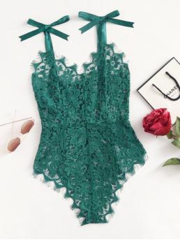 Sexy Plain Skinny V neck and Straps Sleeveless Mid Waist Green Ribbon Tie Shoulder See Though Floral Lace Bodysuit