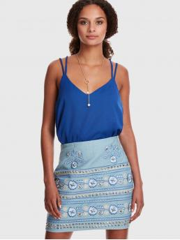 Casual Cami Plain Regular Fit Spaghetti Strap and V neck Blue Regular Length Cross Back Cami Top