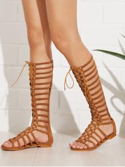 Gladiator Sandals Open Toe Gladiator Brown Lace Up Front Caged Flat Sandals