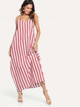Trending now Red Striped Pocket Spaghetti Strap V-neck Side Oversize Dress