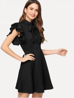 Trending now Black Plain Zipper Stand Collar Flutter Sleeve Fit & Flare Dress