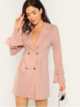 Baby Pink Plain Double Button Round Neck Double Breasted Blazer Dress Shopping