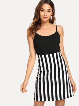 Casual Cami Striped Flared Loose Spaghetti Strap Sleeveless Natural Black and White Short Length Cut And Sew Striped Cami Dress