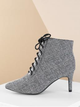 Elegant Lace-up Boots Point Toe Houndstooth Side zipper Black and White High Heel Stiletto Lace Up Front Houndstooth Plaid Stiletto Booties