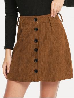 Brown Natural Waist Button a Line Single Breasted Cord Skirt Clearance