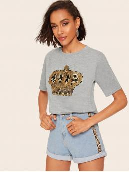 Casual Leopard Regular Fit Round Neck Short Sleeve Pullovers Grey Regular Length Contrast Sequin Leopard Patched Tee