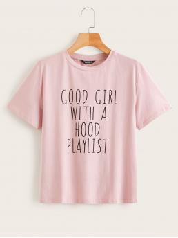 Casual Slogan Regular Fit Round Neck Short Sleeve Pullovers Pink and Pastel Regular Length Slogan Print Short Sleeve Top