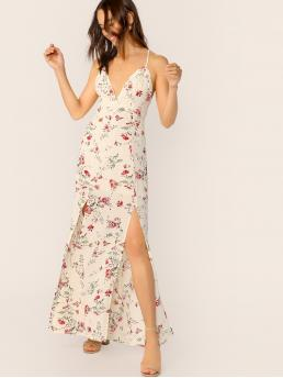 Boho Cami Floral Slit Regular Fit Deep V Neck and Spaghetti Strap Sleeveless High Waist Beige Maxi Length Tied Crisscross Back High Split Halter Dress