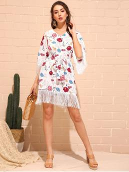Boho Tunic Floral Regular Fit V neck Three Quarter Length Sleeve Natural White Short Length Floral Print Fringe Hem Belted Dress with Belt