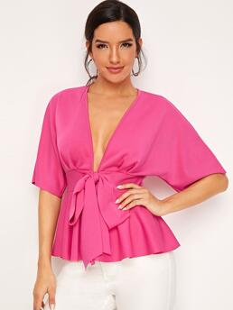 Clearance Half Sleeve Tie Front Polyester Plain Neon Plunging Peplum Top