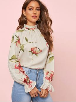 Boho Floral Top Regular Fit Stand Collar Long Sleeve Flounce Sleeve Pullovers White Regular Length Floral Frill Trim Keyhole Back Top