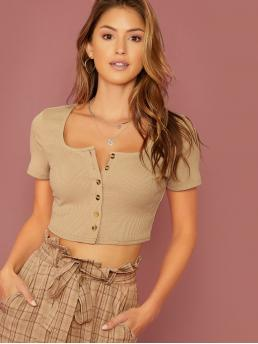 Sexy Plain Slim Fit Scoop Neck Short Sleeve Regular Sleeve Placket Khaki Crop Length Buttoned Placket Rib-knit Crop Top