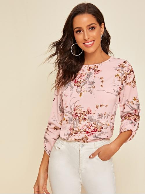 Boho Floral Top Regular Fit Round Neck Long Sleeve Roll Up Sleeve Pullovers Pink and Pastel Regular Length Floral Print Roll Tab Sleeve Top