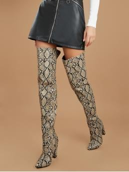 Glamorous Other Point Toe Snakeskin Print Side zipper Multicolor High Heel Chunky Pointed Toe Snakeskin Over The Knee Heeled Boots