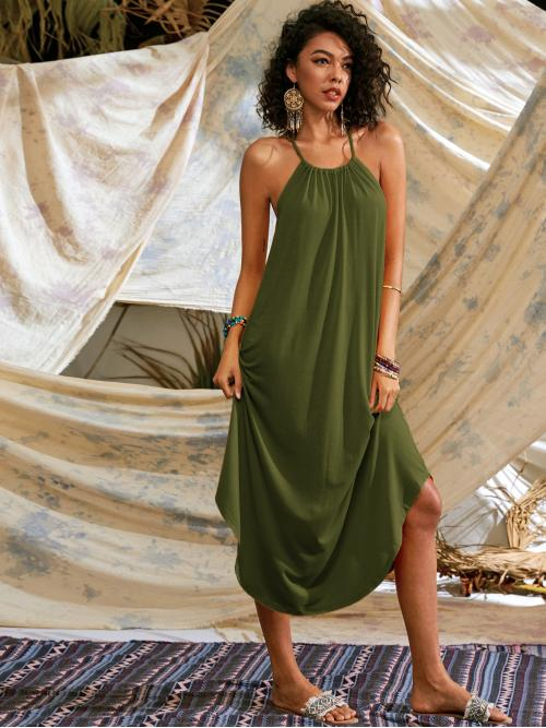 Casual Cami Plain Flared Regular Fit Halter Sleeveless Army Green Long Length Solid Cut Out Tie Back Cured Hem Cami Dress