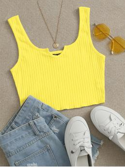 Affordable Tank Rib-knit Cotton Plain Neon Neck Top