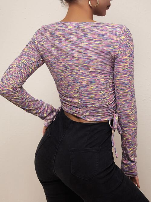 Long Sleeve Ruched Polyester Plain Space Dye Side Tee Fashion