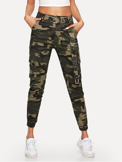 Casual Camo Cargo Pants Regular Zipper Fly Mid Waist Multicolor Cropped Length Camo Pocket Belted Pants with Belt