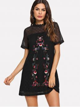 Casual Tunic Floral Straight Loose Stand Collar Short Sleeve High Waist Black Short Length Flower Embroidery Circle Pattern Dress