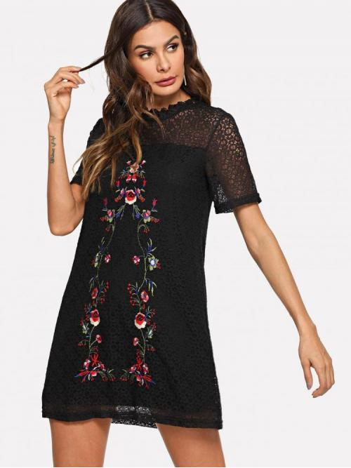 Black Floral Embroidery Stand Collar Flower Circle Pattern Dress on Sale