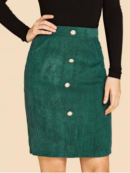 Green Natural Waist Pocket Straight Button Front Split Back Cord Pencil Skirt Clearance