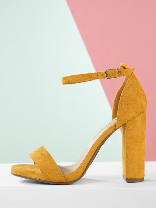 Ankle Strap Plain Ankle Strap Yellow High Heel Chunky Ankle Strap Chunky High Heel Open Toe Sandals