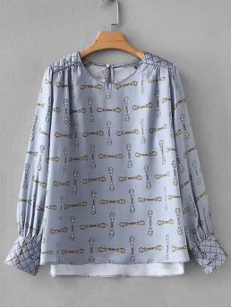 Casual Asymmetrical Top Regular Fit Round Neck Long Sleeve Regular Sleeve Pullovers Multicolor Regular Length Chain Pattern High Low Blouse