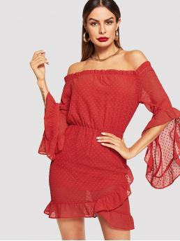 Boho Loose Off the Shoulder Half Sleeve Natural Red Short Length Frilled Neck Flounce Sleeve Dot Mesh Dress