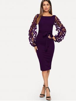 Elegant Bodycon Plain Slim Fit Boat Neck Long Sleeve Bishop Sleeve Natural Purple Midi Length 3D Applique Mesh Sleeve Self Tie Dress with Belt