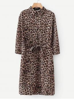 Casual Shirt Leopard Straight Collar Long Sleeve Natural Multicolor Long Length Self Tie Leopard Print Dress with Belt