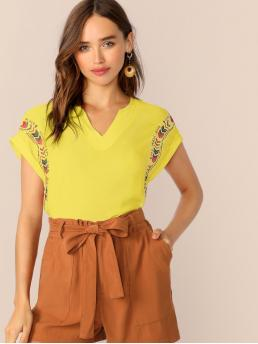 Boho Tribal Top Regular Fit V neck Cap Sleeve Roll Up Sleeve Pullovers Yellow and Bright Regular Length Neon Yellow V Neck Tribal Top