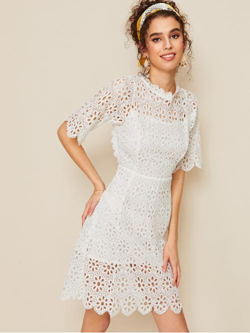 Boho A Line Plain Flared Stand Collar Half Sleeve High Waist White Short Length Backless Eyelet Embroidered Scallop Trim Dress with Lining