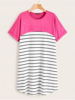 Casual Tee Striped and Colorblock Straight Loose Round Neck Short Sleeve Roll Up Sleeve Natural Multicolor Short Length Cut-and-Sew Curved Hem Striped Tee Dress