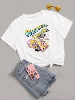 Casual Letter Regular Fit Round Neck Short Sleeve Pullovers White Regular Length Letter And Car Graphic Tee