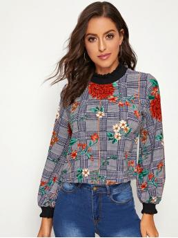 Casual Plaid and Floral Top Regular Fit Stand Collar Long Sleeve Bishop Sleeve Pullovers Multicolor Regular Length Frill Neck Lantern Sleeve Floral and Plaid Top