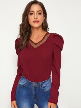 Casual Plain Top Regular Fit V neck Long Sleeve Pullovers Burgundy Regular Length Contrast Dobby Mesh Puff Sleeve Blouse