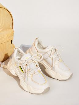 Comfort Round Toe Plain Beige Lace-up Front Chunky Sole Mesh Sneakers