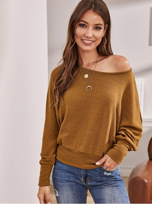 Casual Plain Pullovers Oversized Round Neck Long Sleeve Pullovers Camel Regular Length Solid Batwing Sleeve Sweater